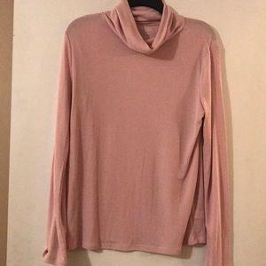 Soft pink cowl neck shirt